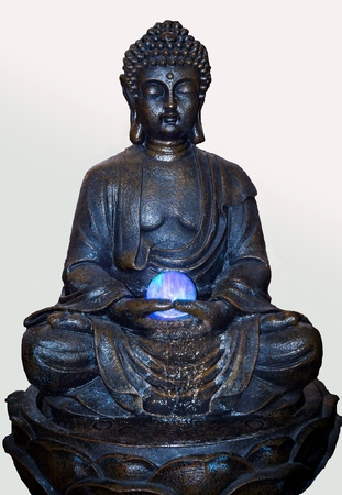psychic reading: Black buddha statue on white background.