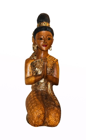 greet eyes: Thai style wooden woman statue doing Sawasdee isolate on white background.