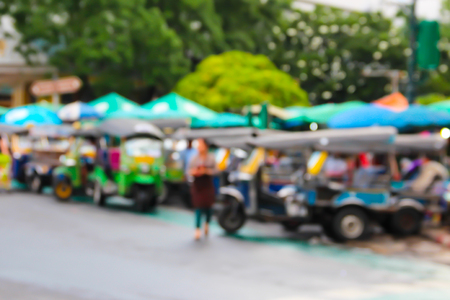 auto rickshaw: Abstract blur the people at the tuktuk carpark, bangkok, thailand.