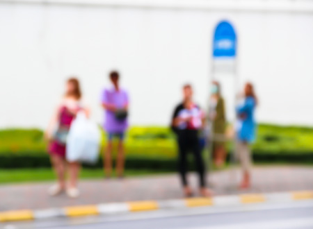 rustaveli: Abstract blur the people waiting for the bus in a city. bangkok, thailand.