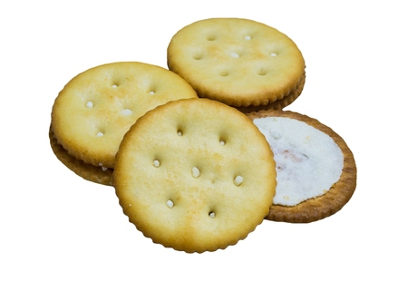 biscuts: Biscuit Cream, filled with white cream on white background. Stock Photo