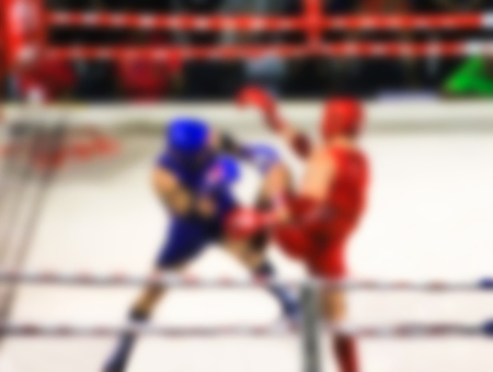 ringside: Abstract blur photo Muaythai world champions tournament. Stock Photo
