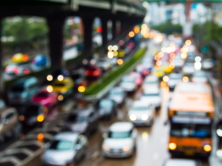 traffic lights: Abstract blur traffic jam in bangkok thailand.