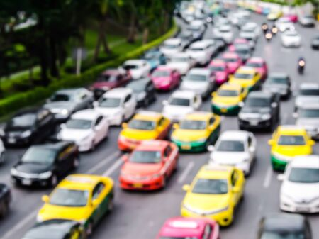 abstract blur traffic jam in the city. Stock Photo