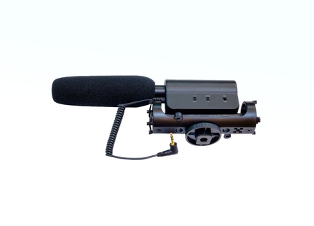 baffle: microphone used in camera and film production isolated on white background.