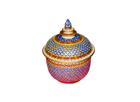 aisa: Thai ceramic bowl old style art paint colorful pattern or Lai-Karm isolated on white background.