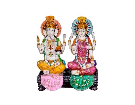 ganesh: Goddess Lakshmi and Lord Ganesh isolated on white background.