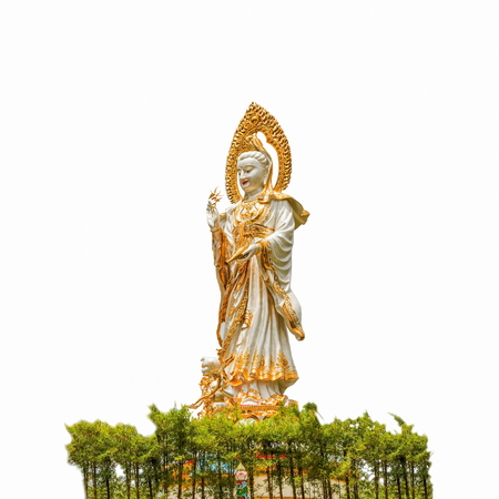 The Image of guanyin, Statue of GuanYin in thai temple isolated on white background. Stock Photo
