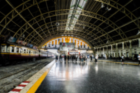 Abstract blurred people at the interior of train station in bangkok thailand. Stock Photo