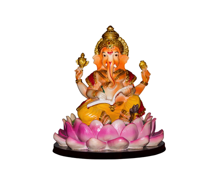 Beautiful hindu god ganesh statue isolated on white background.