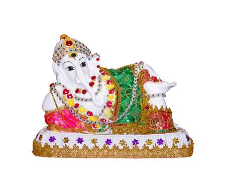 Beautiful hindu god ganesh statue isolated on white background.