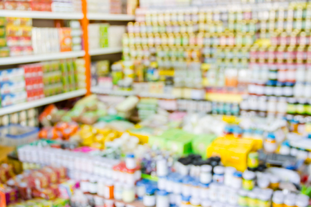 Abstract blurred of herb medicine products in pharmacy store.
