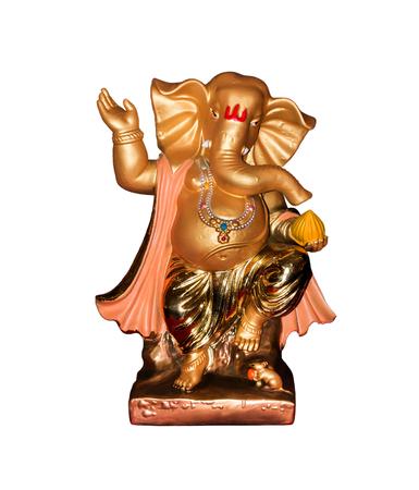 Golden hindu god ganesh statue isolated on white background.