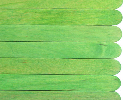 art materials: green wooden planks isolated on white background Stock Photo