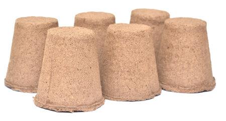 turf: peat pots isolated on white Stockfoto