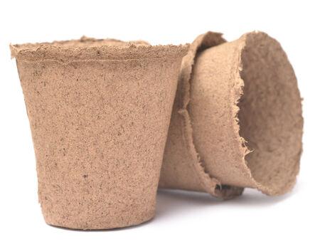 turf: peat pots isolated on white background Stockfoto