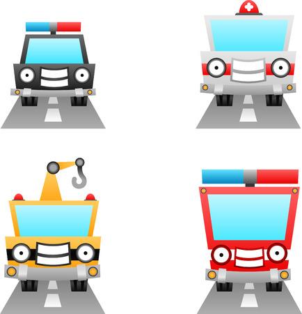 emergency vehicle: serie di cartoni animati illustrazione - utilit� di automobili Vettoriali