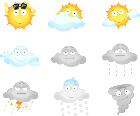weather report:  illustration of cartoon weather icons