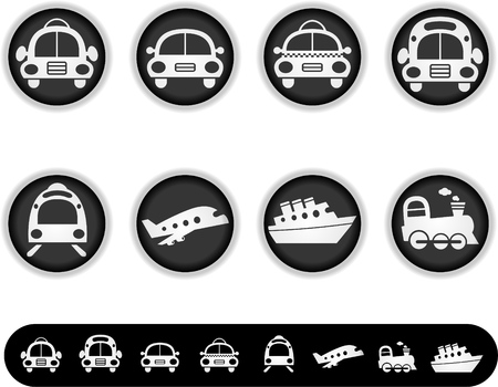 cruise cartoon: A series of white buttons and simple icon versions of them. To see the other white button collections, please check my portfolio