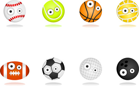 8 cartoon character sport ball set.  Separate layers for easy editing