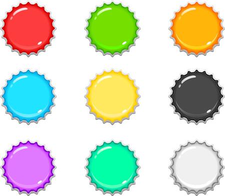 lid: 9 colorful bottle caps