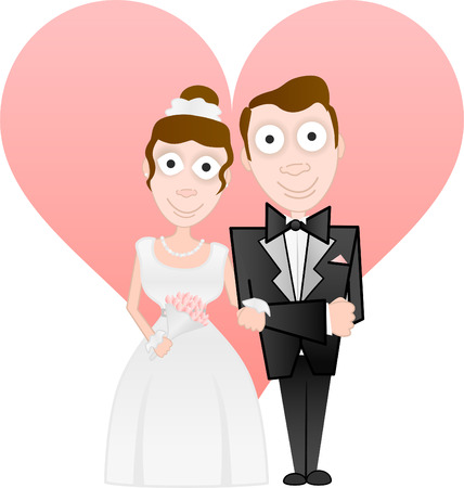 cute bride and groom illustration Vector