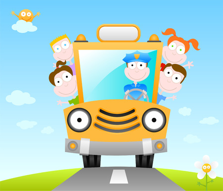 cartoon  illustration series - funny school bus Vector