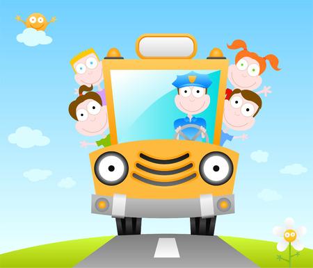 campamento: serie de dibujos animados ilustración - divertido de autobús escolar Vectores