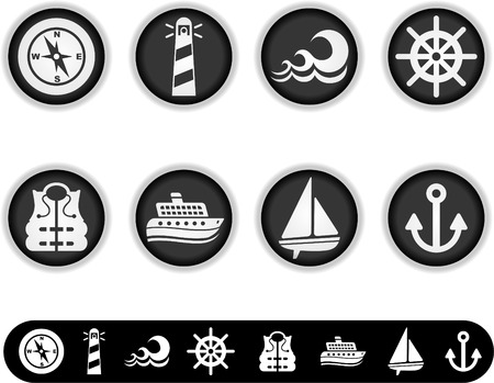 marina life: a series of  white buttons and simple icon versions of them to see the other white button collections, please check my portfolio  Illustration