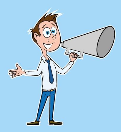 Businessman talking with megaphone