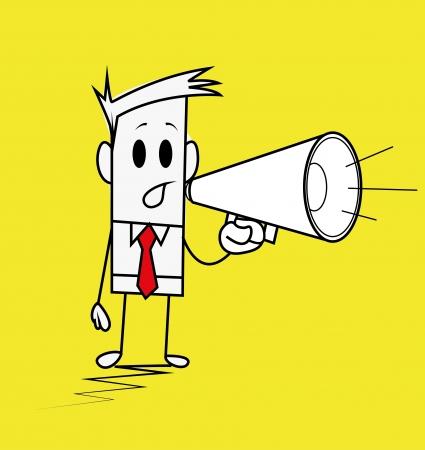 Square guy-megaphone Illustration