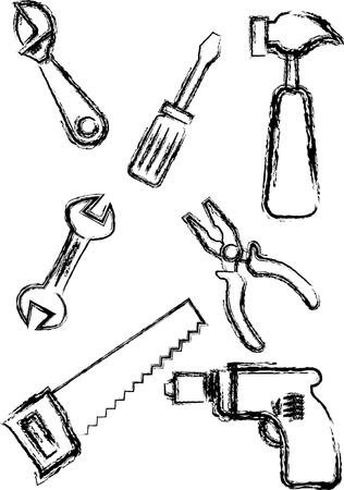 Sketch style hand tools collections