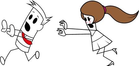 chased: Square guy-chase Illustration