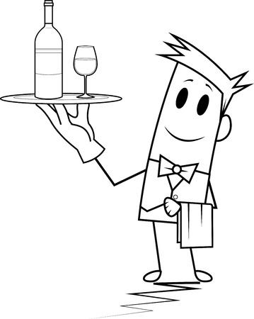 Square guy-waiter Stock Vector - 19728812