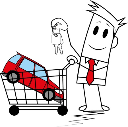 Square guy buying a car Illustration