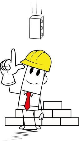 Square guy-Brick Vector