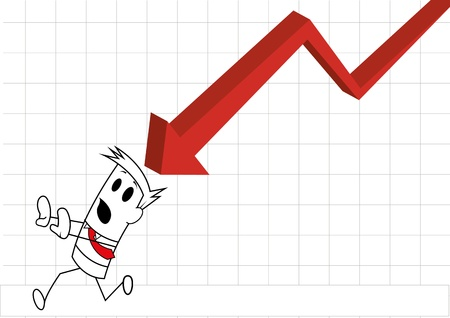 Square guy-Chasing negative charts Illustration
