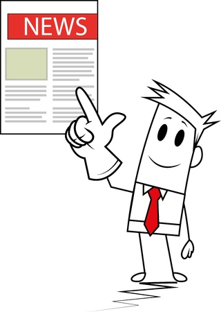 Square guy showing newspaper