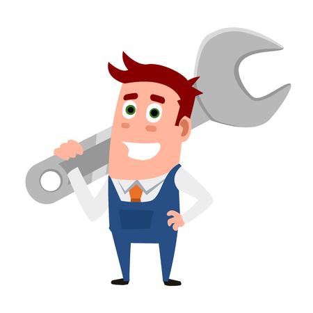 Business Flat Character While Repairman