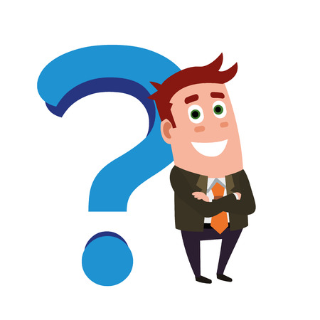 Business Flat Character And Question Mark.