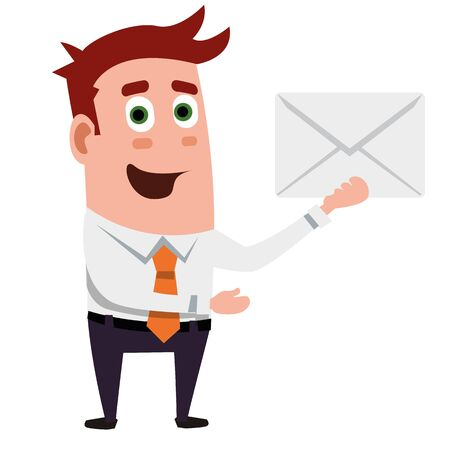 Business Flat Character Is Showing Envelope.