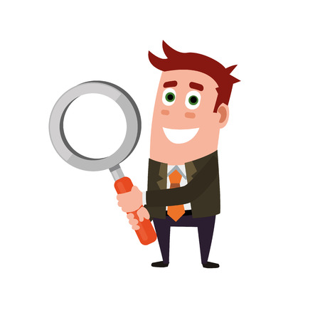 Business Flat Character Holding Magnifying Glass