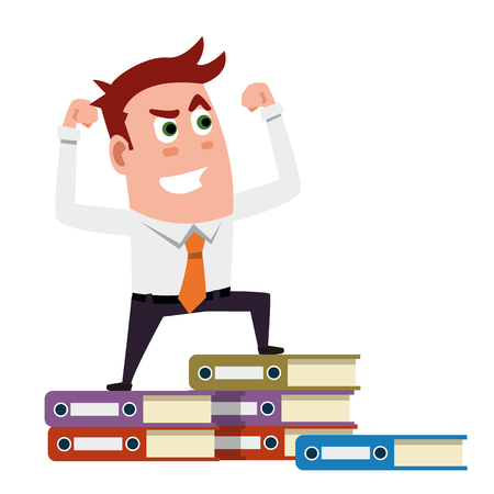 man: Power Of Business Man On The Folders Illustration