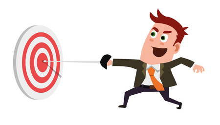 Business Flat Character Is Hitting The Target