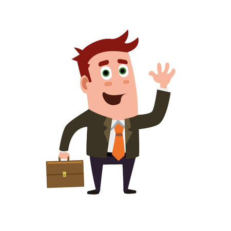Business Flat Character Say Hello Or Goodbye Illustration