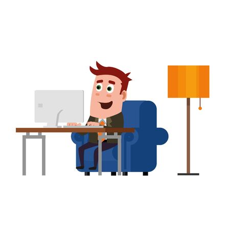 Office Worker Working At Home. Illustration