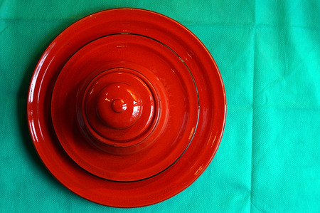 dish disk: Red Sugar Bowl is on a saucer and on a plate