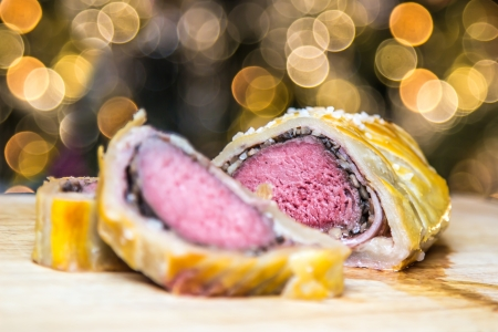 Beef Wellington on Christmas background  photo