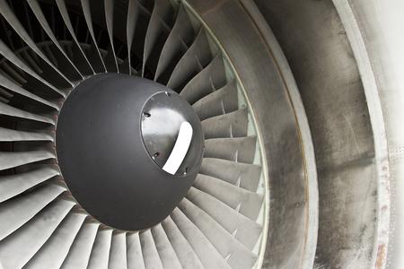 aeronautics: Close-up of a turbofan jet engine in modern airplane