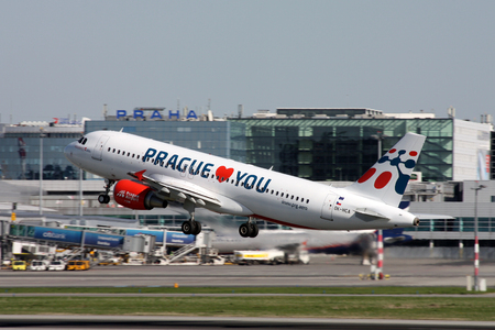 PRAGUE, CZECH REPUBLIC - APRIL 28: Holidays Czech Airlines Airbus A320-214 takes off from PRG Airport on April 28, 2012. Registration OK-HCA is in a special livery propagation Prague Airport.